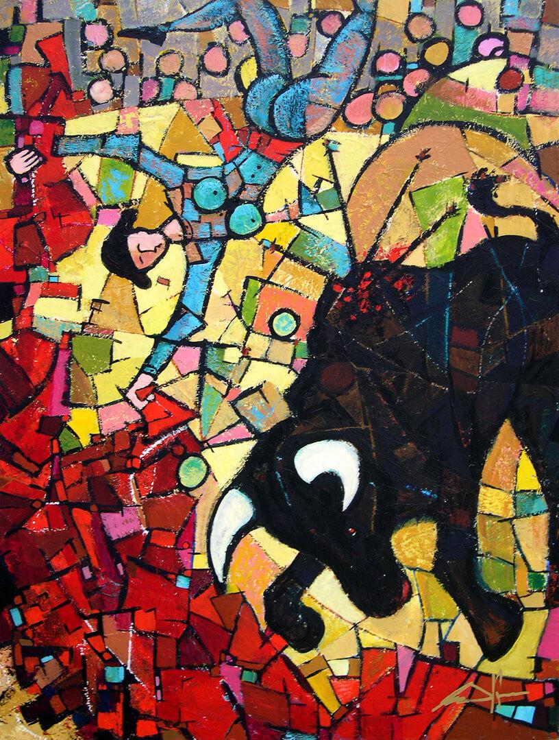 art-eric-j-hughes-artiste-peintre-canadien-tableau-catharsis-elle-y-el-toro