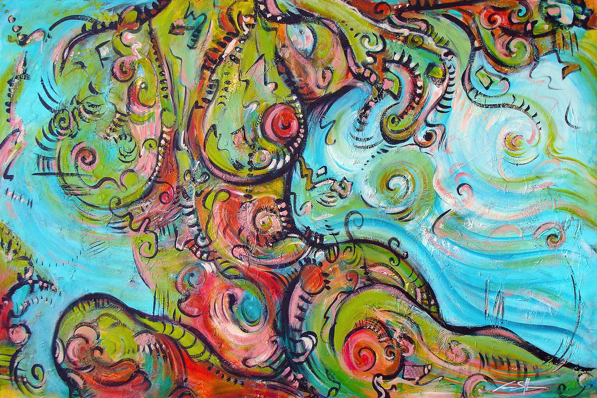 art-eric-j-hughes-artiste-peintre-canadien-tableau-delirium-chlorophylline