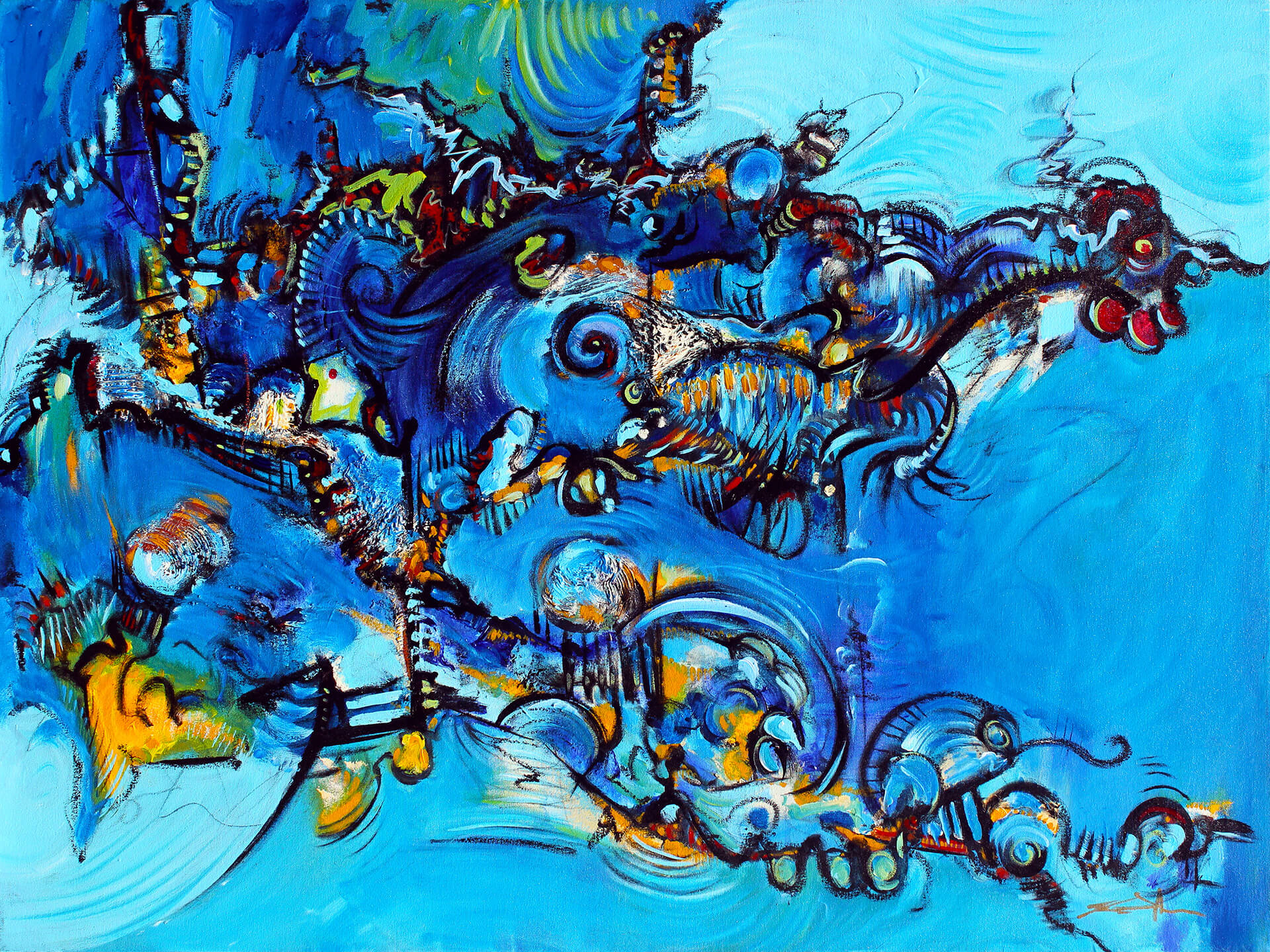 art-eric-j-hughes-artiste-peintre-canadien-tableau-delirium-coqameleonerie