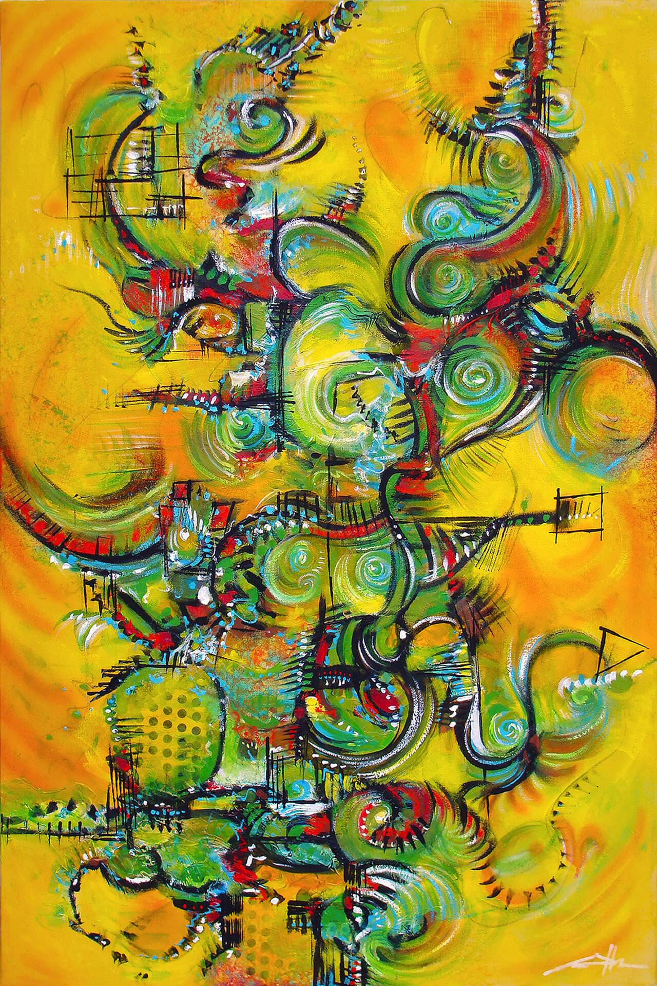 art-eric-j-hughes-artiste-peintre-canadien-tableau-delirium-dragoncitronlime