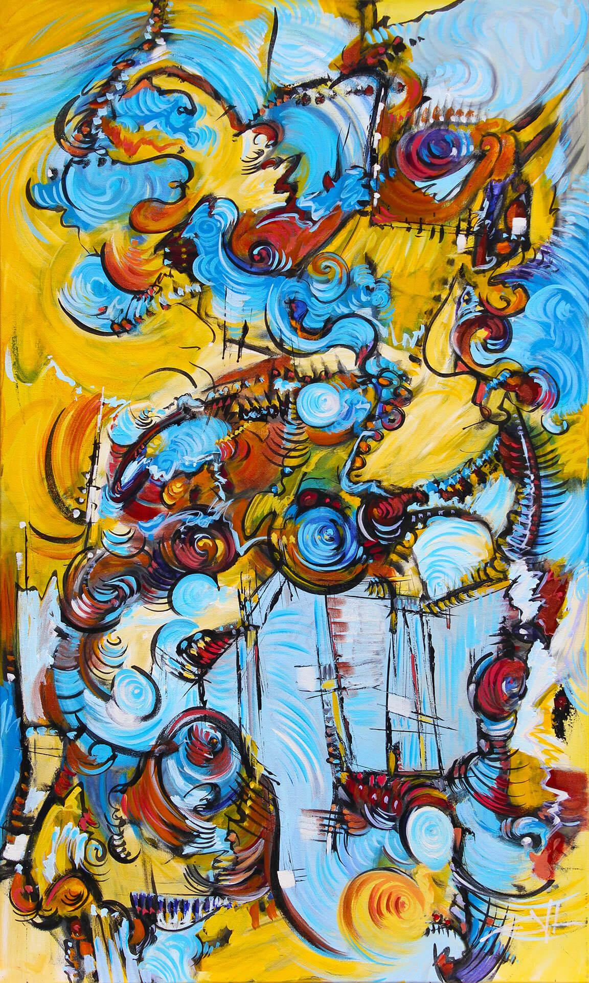 art-eric-j-hughes-artiste-peintre-canadien-tableau-delirium-malgre-les-osbtacles-l-eau-retrouve-toujours-son-chemin