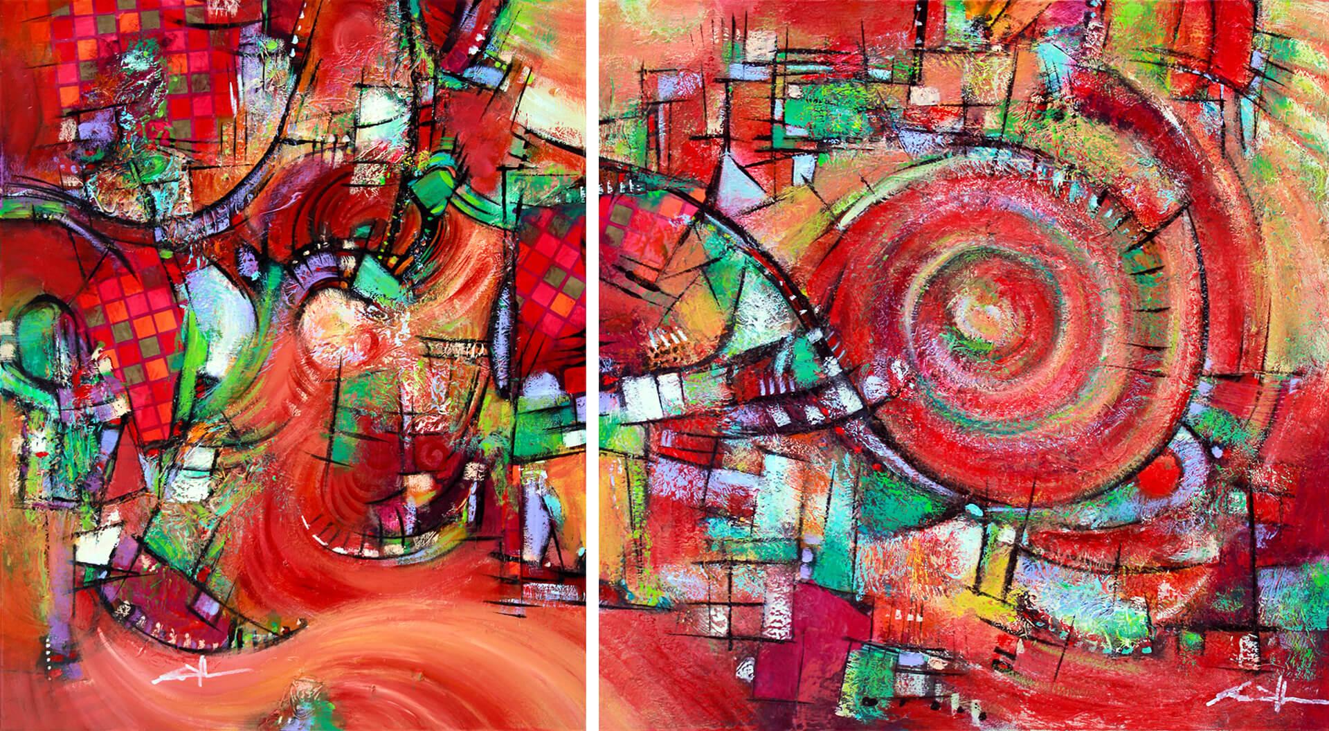 art-eric-j-hughes-artiste-peintre-canadien-tableau-symbiose-ecarlate-polyptyque-cd