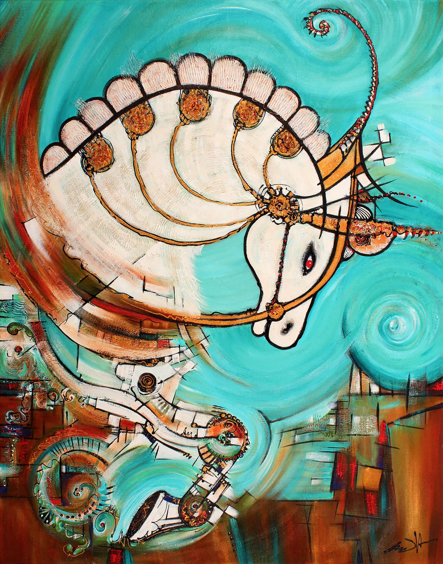 art-eric-j-hughes-artiste-peintre-canadien-tableau-symbiose-equo-albino