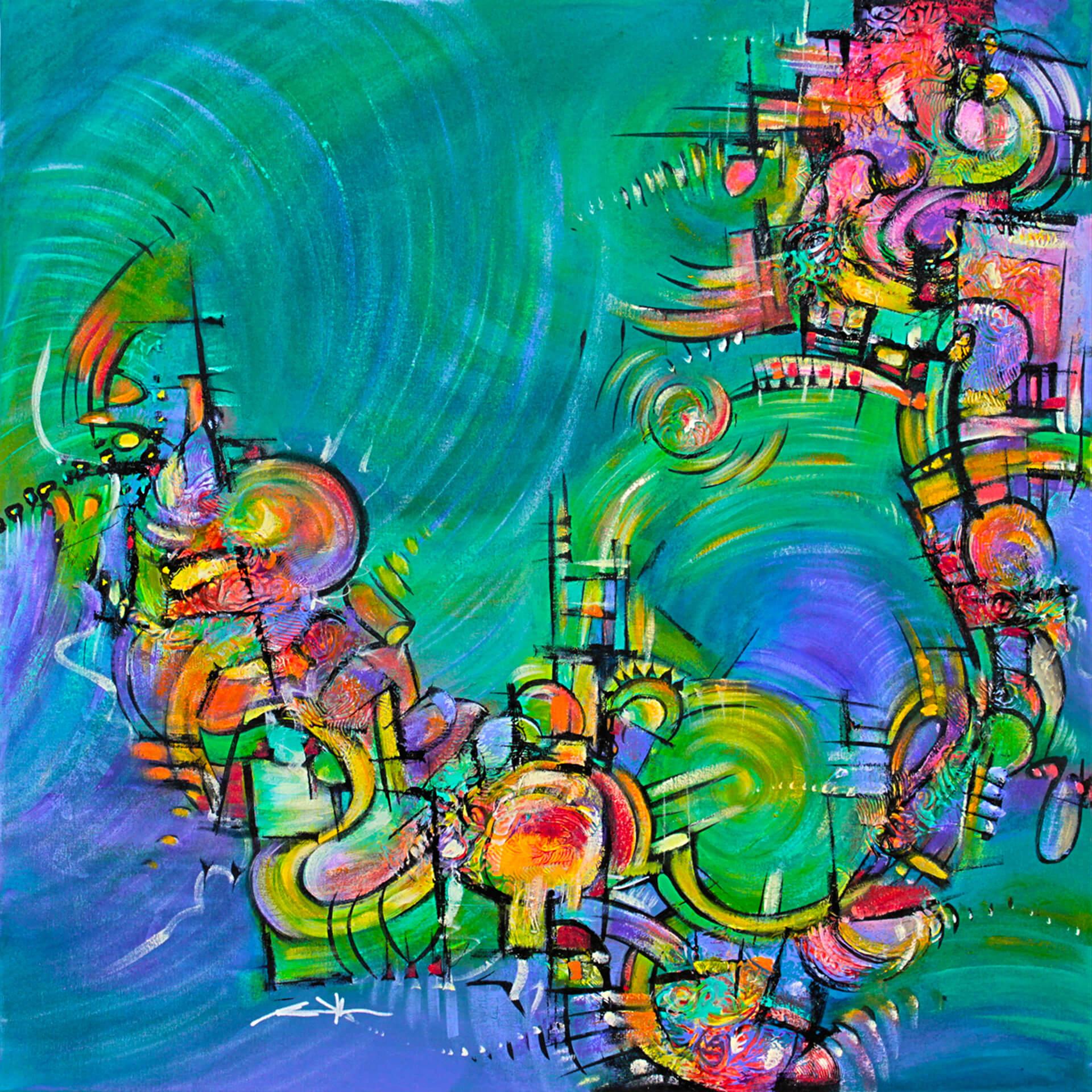 art-eric-j-hughes-artiste-peintre-canadien-tableau-symbiose-kamelemeraude-a